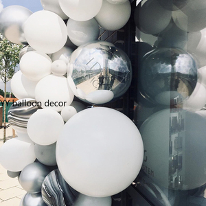 Image 2 - 143pcs DIY Balloons Garland Arch White Grey Agate Black Metal Silver Marble Baby Shower Birthday Party Wedding Decor