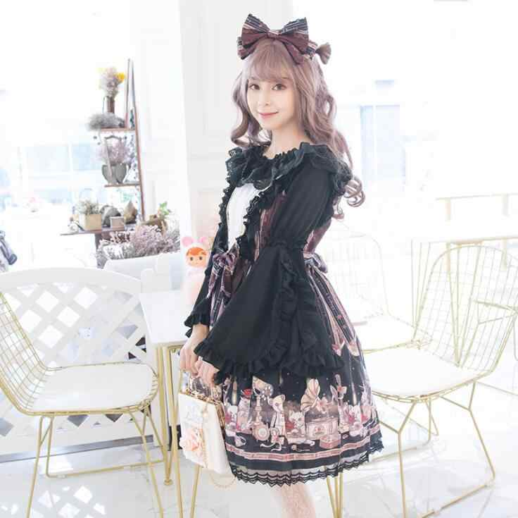Palácio princesa diário doce lolita vestido laço vintage bowknot bonito impressão vitoriano vestido kawaii menina gothic lolita jsk loli