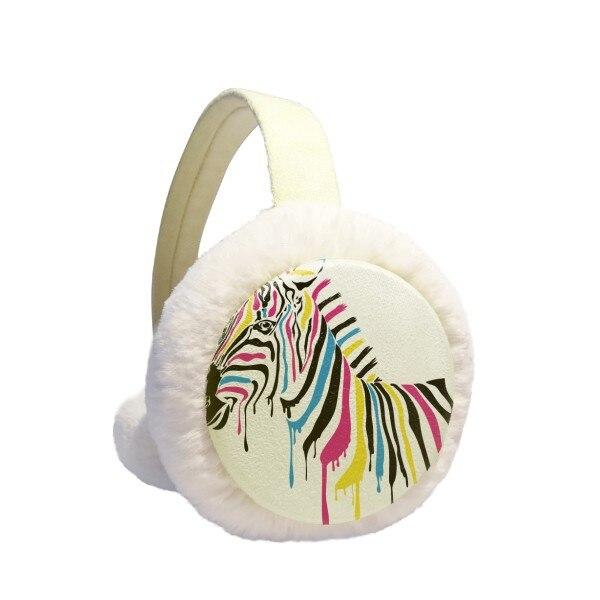 Pinto Animal Rainbow Color Winter Earmuffs Ear Warmers Faux Fur Foldable Plush Outdoor Gift