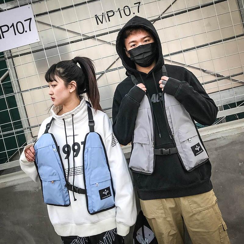 Women's Backpack Cross-Shoulder-Pocket Chest-Bags Multi-Functional Hip-Hop Vest Rig-Bag