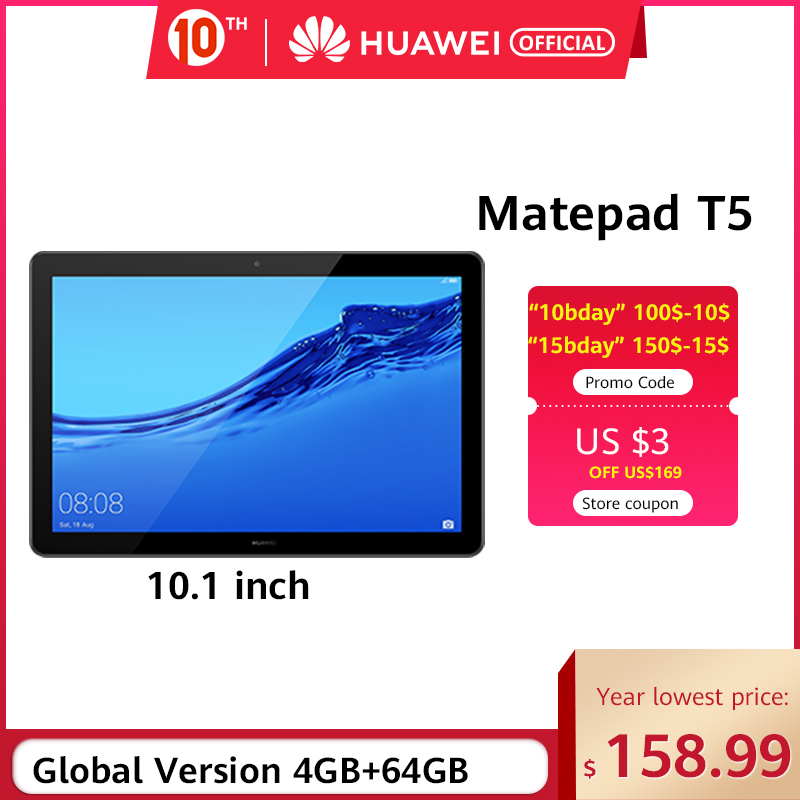 Global Version HUAWEI MediaPad T5 3GB 32GB/64GB Tablet PC 10.1 Inch Octa Core Dual Speaker 5100 MAh  Android 8.0