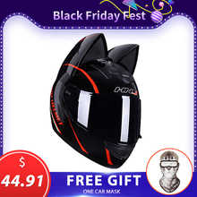 Motorcycle Helmet Capacete Casque Personality Full-Face Women Black