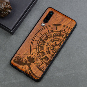Image 5 - منحوتة الجمجمة الفيل الخشب الهاتف حافظة لهاتف Huawei P30 برو P30 لايت هواوي P20 P20 برو P20 لايت السيليكون خشبية حالة غطاء