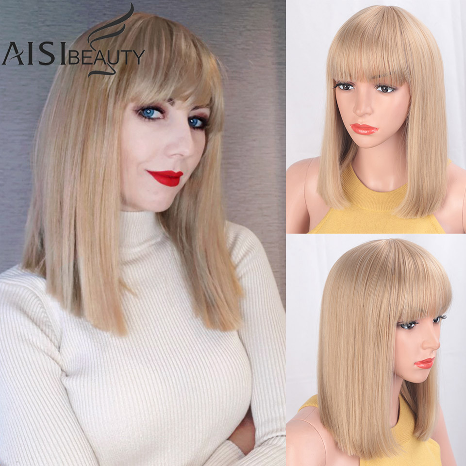 AISIBEAUTY Straight Black Synthetic Wigs With Bangs For Women Medium Length Bob Wig Heat Resistant Bobo Hairstyle For Cosplay