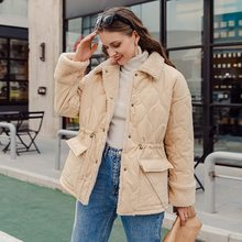 Women's Coat Parka Simplee Winter Warm Autumn Casual Splicing Apricot Long-Sleeve High-Street-Style