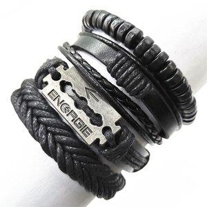 Blade Black Beads Wristband Wing Skull Multilayer Leather Bracelets Set Men Bracelets Women Homme Fashion Jewelry Accessories