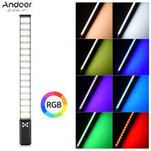 Andoer rgb handheld led tubo de luz fotografia fill-in lâmpada de luz 3000k-5700k pode ser escurecido cri95 bateria recarregável embutida