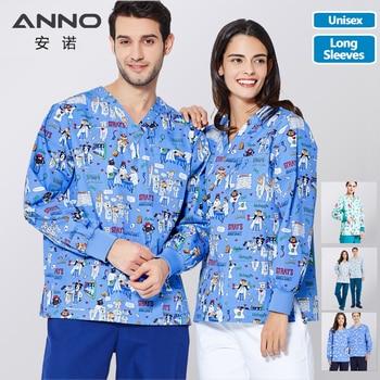 ANNO Hospital Autumn Winter Scrubs Tops Trousers Sets Optiona Long Sleeves Nursing Uniform Dental Clinic Supplies Nurse Clothing