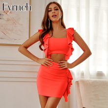 Fyrneh Orange Sexy Two Piece Set Outfits Set Crop Top And Mini Skirt Set Party Wear Sexy Two Piece Outfits Ladies Matching Sets two piece outfits