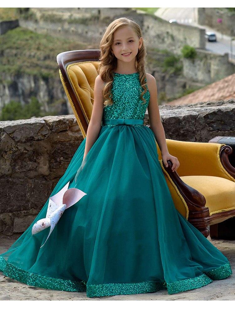 Pageant   dresses   for   girls   2019 tulle applique Scoop dark green   flower     girl     dress   communion   dresses