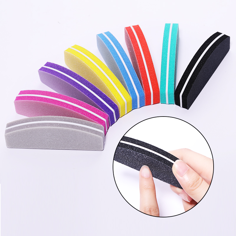 5 Pcs/Set Colorful Nail File Sponge Sanding Grinding Nail Buffs Moon Shape Design Nail Shaping File Nail Art Tool Accessories