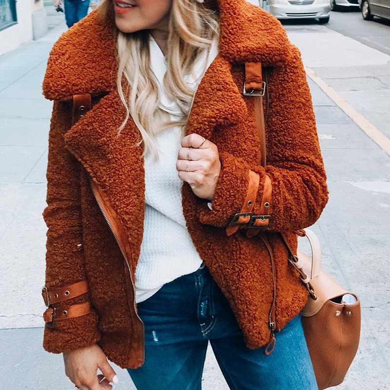 Casual Fake Faux Fur Fluffy Teddy Coat  Jacket Women Autumn Winter Warm Female Plus Size 3XL Plush Bear coat outwear 2019