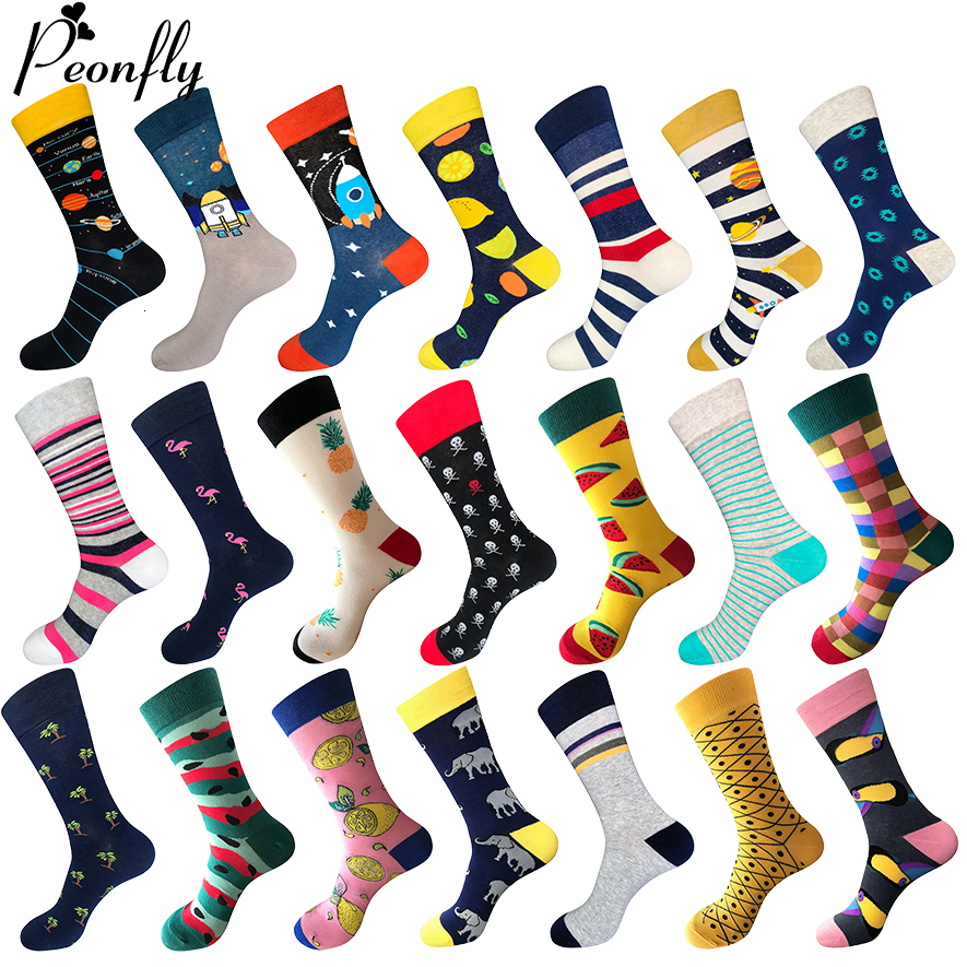 PEONFLY 80% Cotton Men's Socks Harajuku Colorful Cartoon Funny Kawaii Flamingo Space Lemon Happy Socks For Christmas Gift