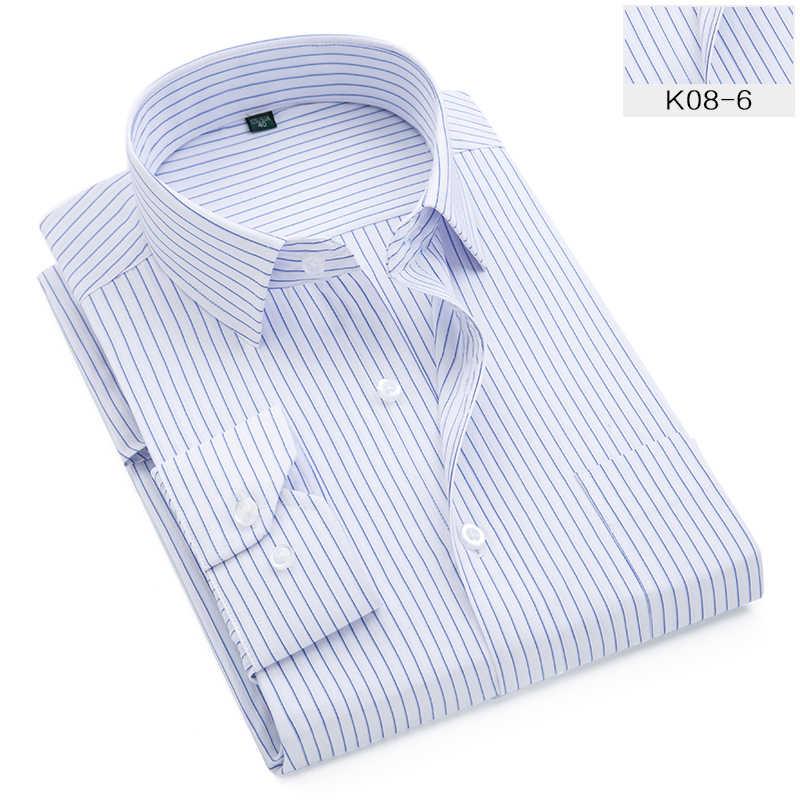 플러스 대형 9XL 8XL 7XL 6XL 5XL 망 비즈니스 캐주얼 긴팔 셔츠 클래식 스트라이프 남성 사회 복장 셔츠