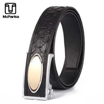 цена McParko Automatic Buckle Belt Men Genuine Leather Python Men Belt Waist Straps Business Snakeskin Leather Suit Belts 3.4cm Black онлайн в 2017 году