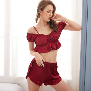 Image 2 - SP&CITY High Quality Delicate Stain Sexy Pajamas Set Midriff baring Tops Women Camisole Suit Solid Nightwear Shorts  Lingerie