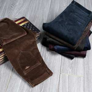 Image 5 - 2020 Winter Spring Men Thick Trousers Brand Red Blue Loose Elastic Mens Corduroy Pants Male Long Straight Business Casual Dress