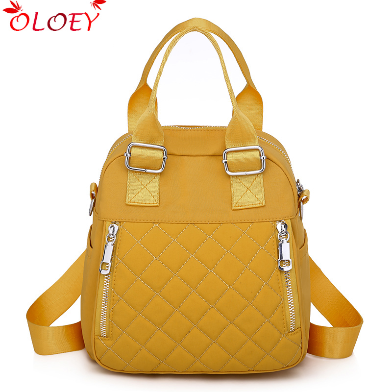 Backpack Waterproof Oxford Cloth Multifunctional Bag 2020 New Ladies Fashion Backpack Rhombus Embroidery Thread Hot Sale 4 Color