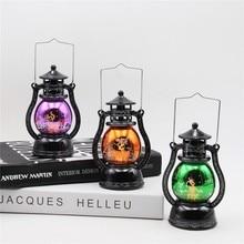 Хэллоуин Светодиодный фонарь винтажный замок колдуньи светодиодный светильник подвесные украшения для вечеринки портативный маленький масляный тыквенный свет светодиодный ночник
