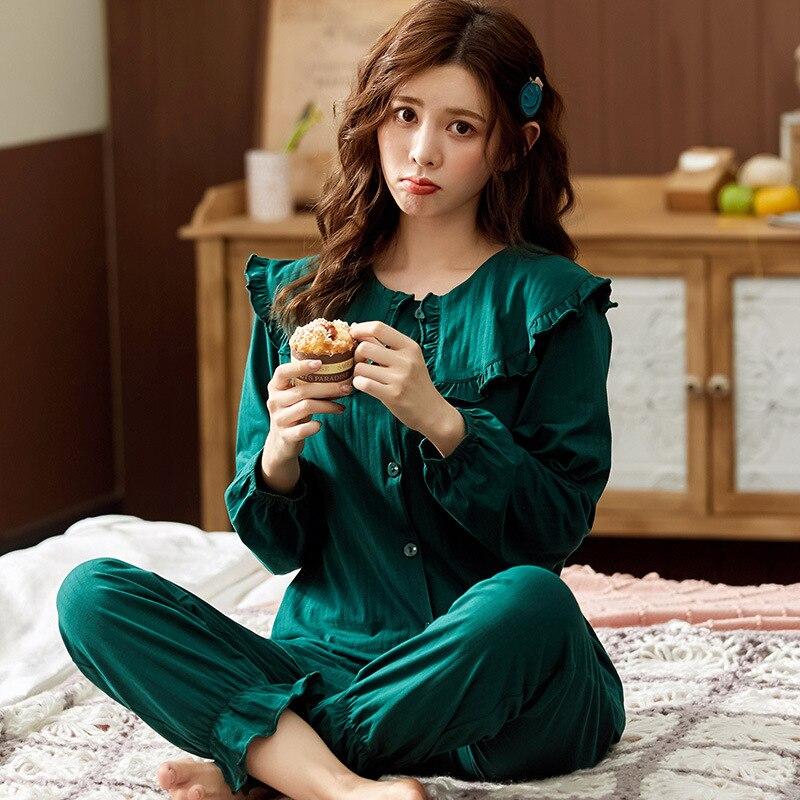 Высококачественные пижамы женский костюм хлопковый кардиган