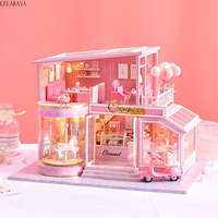 Doll House DIY Villa Miniature Music Led Dollhouse Model Wooden Furniture Decoration Toys For Children Include Dust Cover A 073