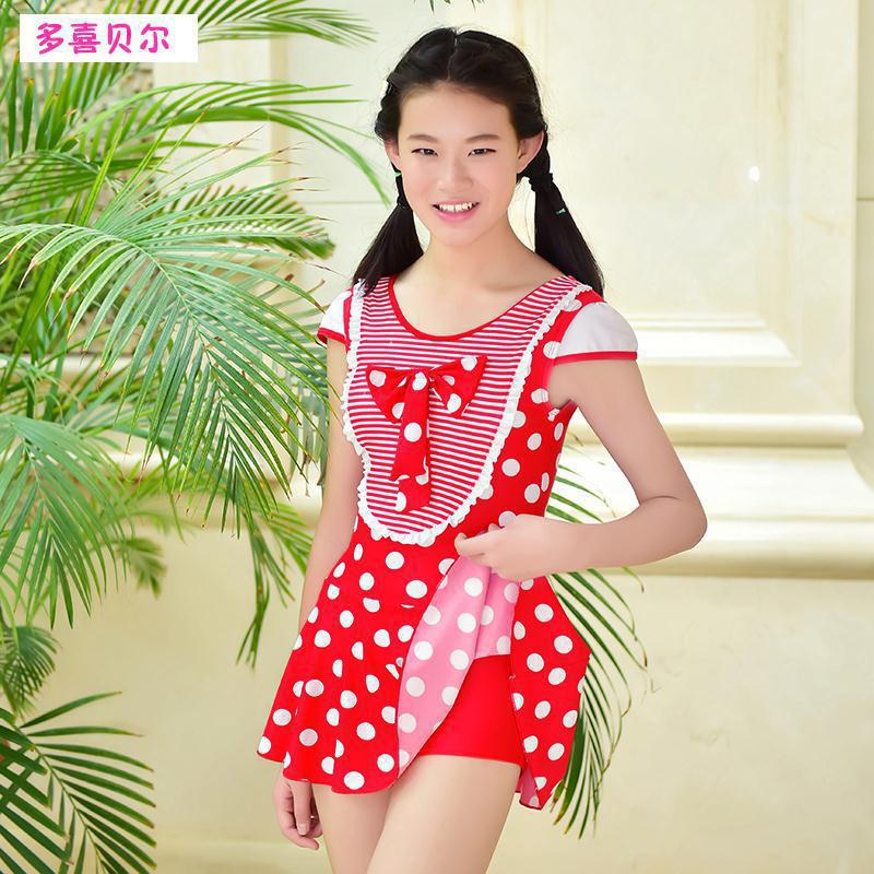 KID'S Swimwear Korean-style Children New Style Belly Covering Slimming One-piece Boxer Swimsuit Tour Bathing Suit