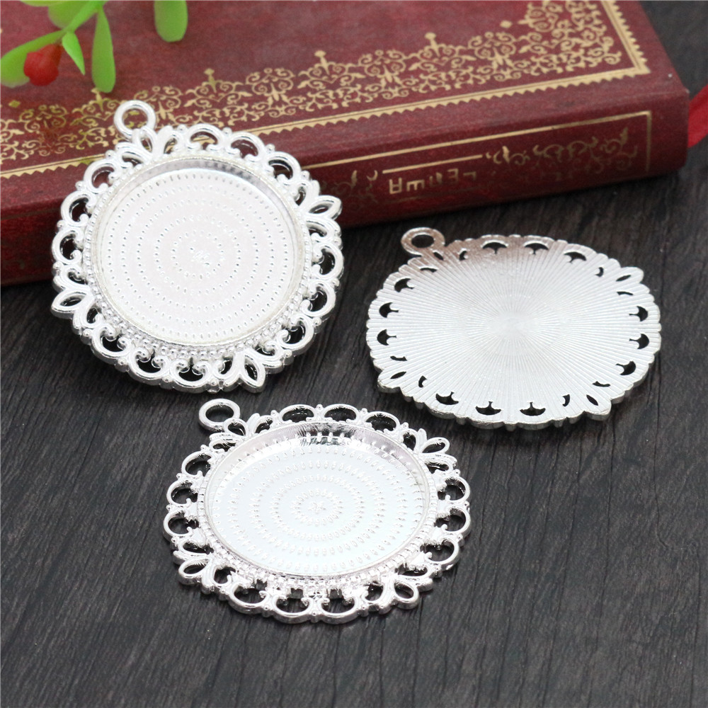New Fashion  3pcs 25mm Inner Size Silver Plated Pierced Style Cabochon Base Setting Charms Pendant (A3-48)