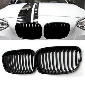 Image 1 - Grade para frente do capuz de carro, 2 peças, brilhoso, preto, grade de corrida, para bmw f20 f21 1 series 2011 2012 2013 2014 estilo do carro