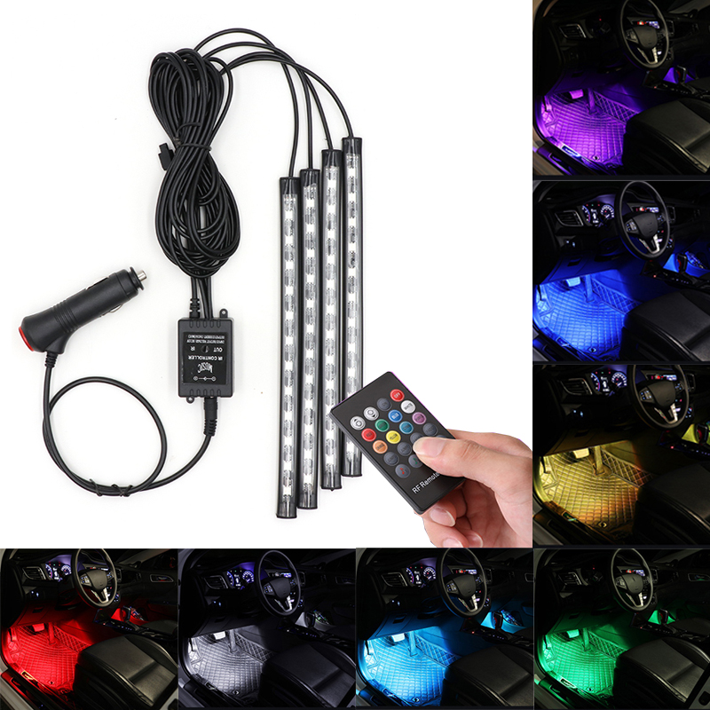 12X4 LED Car Foot Light Ambient Lamp With USB Remote Music Control Multiple Modes Automotive Interior Decorative Lights