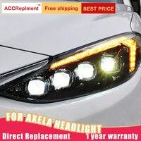 2Pcs LED Headlights For Mazda 3 Axela 2014 2016 led car lights Angel eyes Full LED Fog lights LED Daytime Running Lights