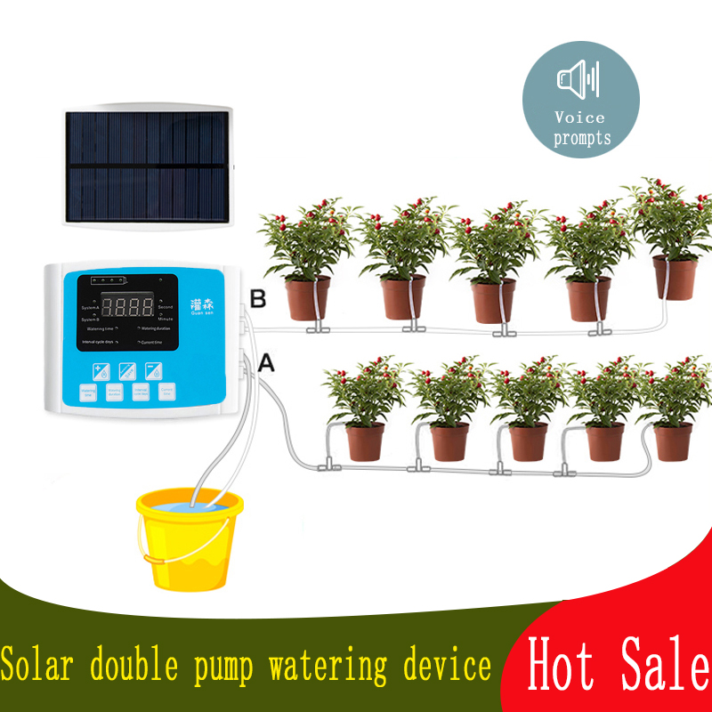 1/2 Pump Intelligent Drip Irrigation Water Pump Timer System Garden Automatic Watering Device Solar Energy ChargingPotted Plant
