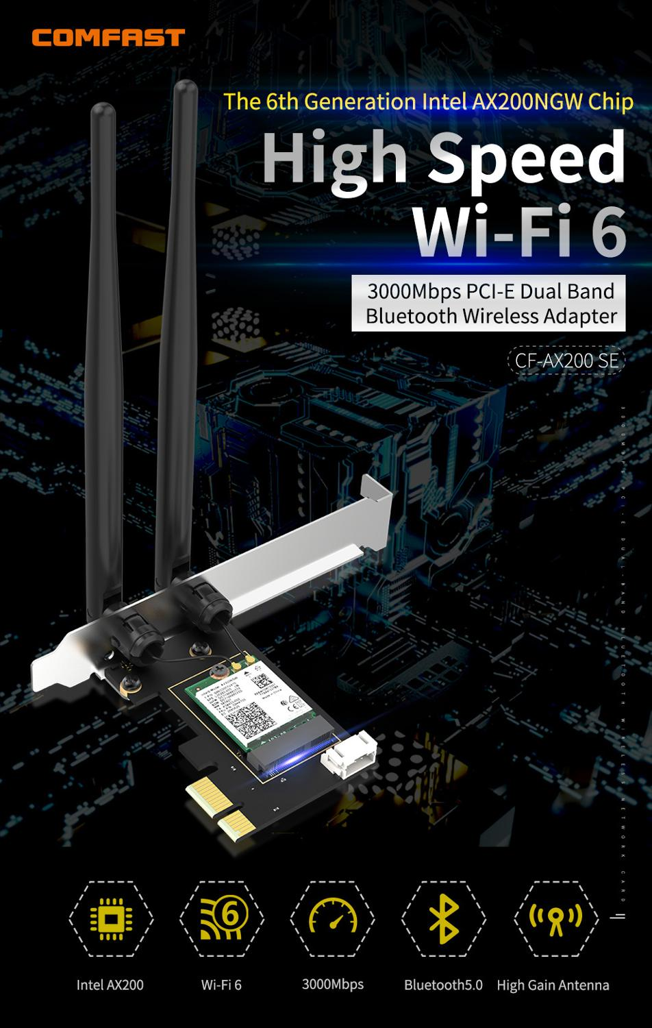 3000Mbps Dual Band Wireless Desktop PCIe For Intel AX200 Pro Card 802.11ax 2.4G/5Ghz Bluetooth 5.1 PCI Express WiFi 6 E Adapter 4