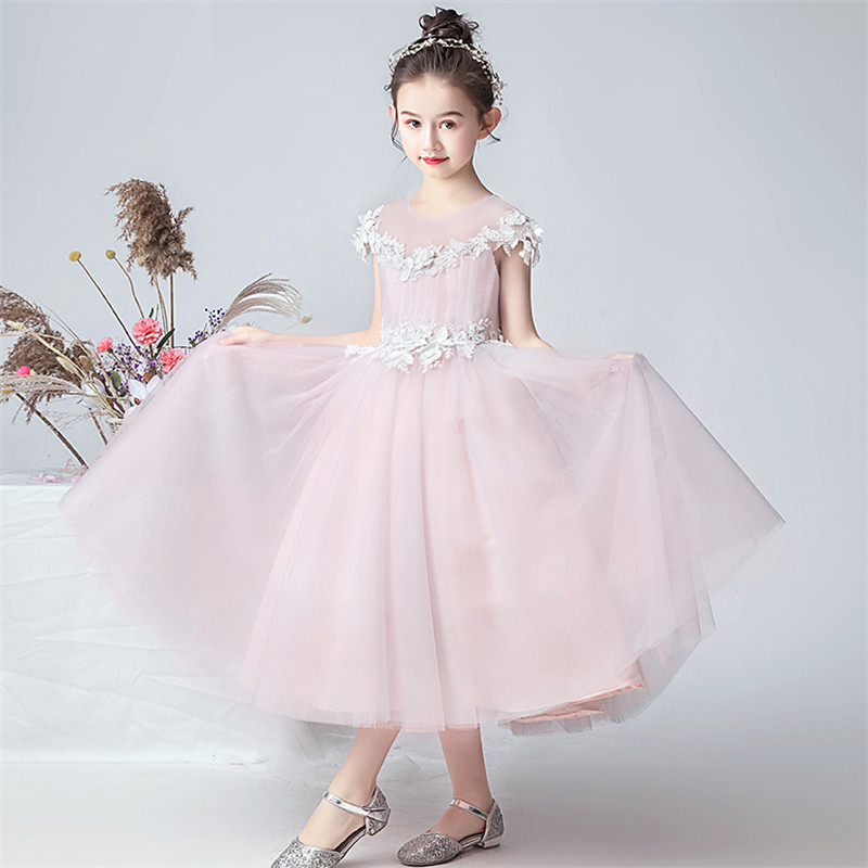 New Arrival Children Girls Elegant Pink Color O-Neck Birthday Wedding Party Puffy Prom Dress Kids Host Piano Costumes Long Dress