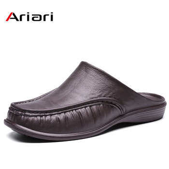 Men Shoes Summer Casual Slippers British Wind Baotou Half Drag Leather Men Shoes Breathable Slip On Lazy Loafers Men's Plus Size 2020 summer cool rhinestones slippers for male gold black loafers half slippers anti slip men casual shoes flats slippers wolf