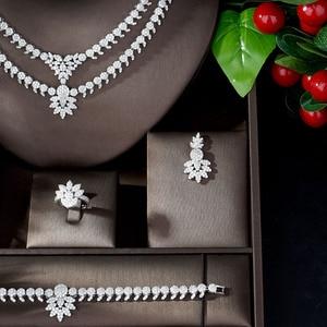 Image 3 - HIBRIDE luxe classique couleur or blanc AAA + CZ pierre mariage robe de mariée accessoires fête bijoux ensembles pour les femmes N 1197