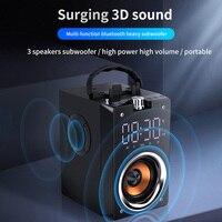 Altavoz Bluetooth portátil de gran potencia, inalámbrico de 2200mAh Subwoofer estéreo de música columna reproductor de pantalla LCD FM Radio TF