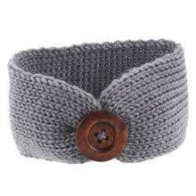 Toddler Infant Baby Girl Knitted Button Headbands Knotted Head Wrap Band(China)