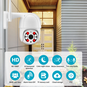 Image 2 - AZISHN 3MP PTZ كاميرا IP لاسلكية 4X التكبير الرقمي سرعة قبة 2 Way الصوت 1080P في الهواء الطلق مقاوم للماء واي فاي CCTV AI الكشف عن الإنسان