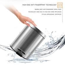 Poubelle en acier inoxydable 410, 3l/5l/7l/12l, corbeille à poussière avec couvercle pour salle de bain