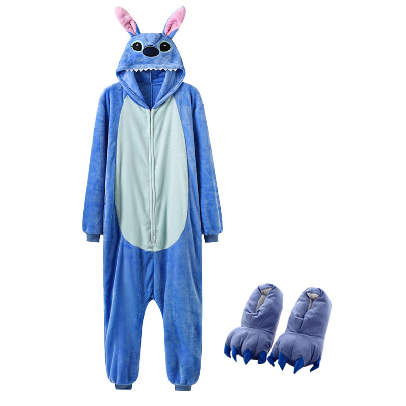 Cartoon Kigurumis With Slippers Women Girl Cute Onesie Zipper Sleepwear Stitch Totoro Pig Pajama Christmas Festival Animal Suit