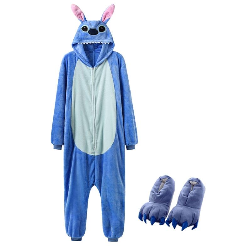 Cartoon Kigurumis With Slippers Women Girl Cute Onesie Zipper Sleepwear Stitch Totoro Pig Pajama Christmas Festival Animal Suit