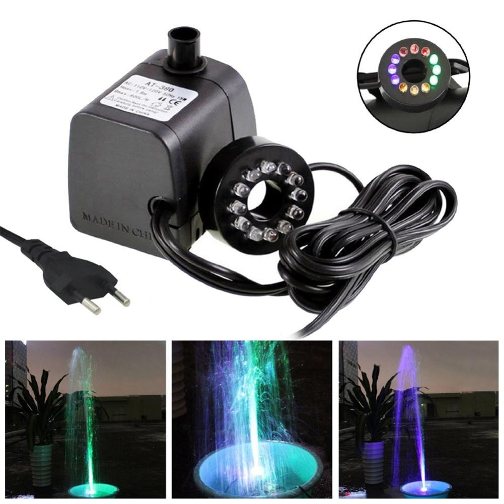 HiMISS Submersible Water Pump With LED Light For Aquariums KOI Fish Pond Fountain Waterfall Underwater Light Pond Lighting