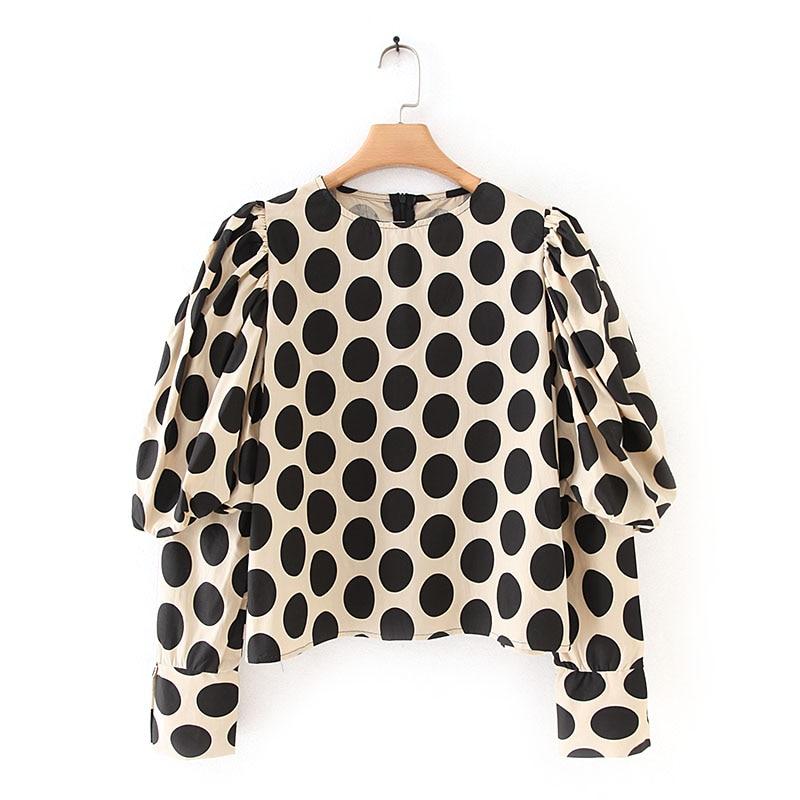 Women Long Shirt Blouse Autumn 2019 New Fashion Polka Dot Print Shirt Modern Lady Puff Sleeve Pullover Tops