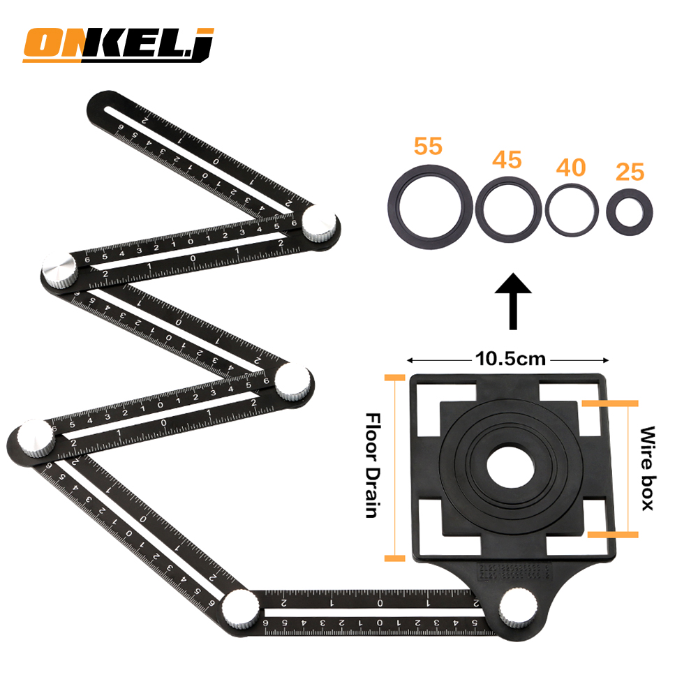ONKEL J Universal Opening Locator Tile Hole Tool Masonry Glass Fixed Angle Measuring Ruler Universal Angular 4 6 12 slides fold