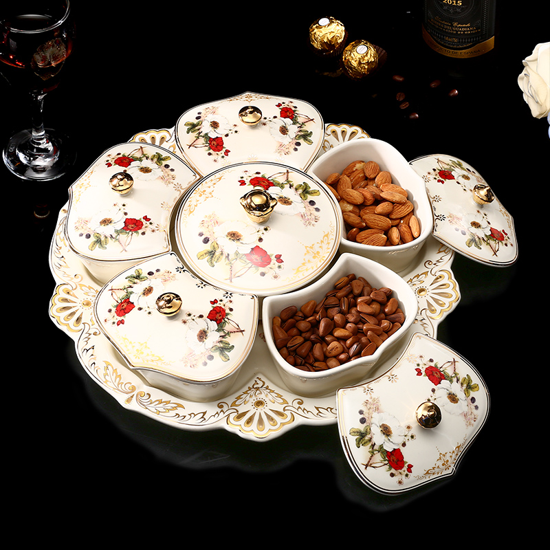 Plateau à Snacks en céramique fruits secs | Assiette de luxe européenne 6 grilles avec couvercle plat de bibelot assiettes à graines de bonbons japonais ménagers