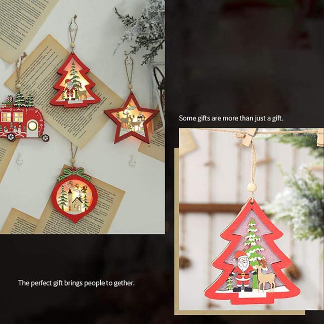 Creative Led Light Christmas Tree Hanging Pendant Star Car Heart Wooden Ornament Decoration Shine Romantic New Year Ornaments 13