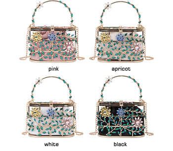 Diamond Embellished Colored Flowers and Leaves Metallic Cage Bag 2