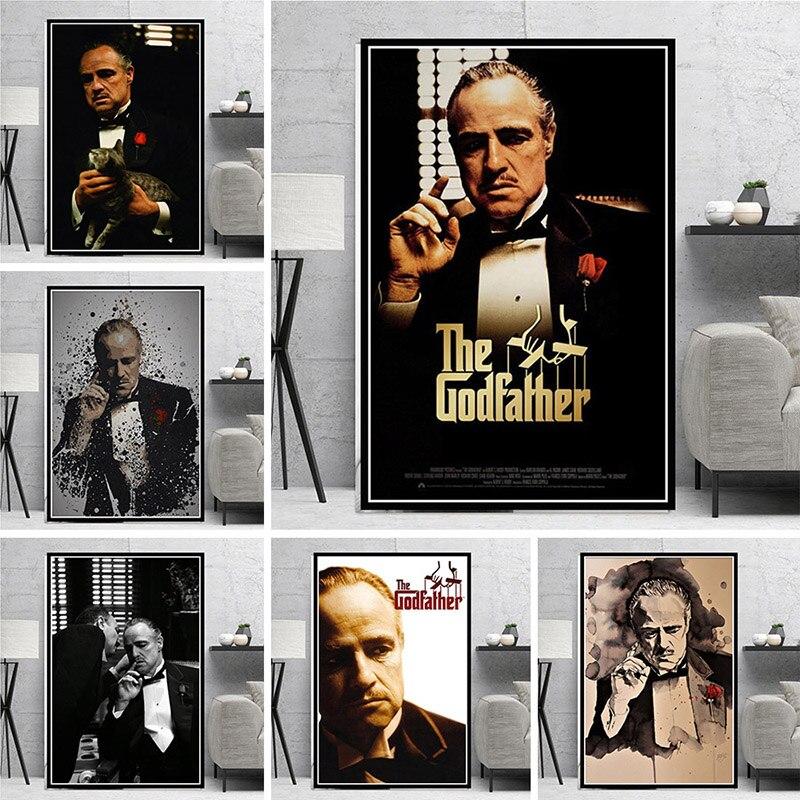 Классический гангстера холст картины Горячая фильм плакат Крестный отец и принты настенные картины для Гостиная домашний декор Куадрос