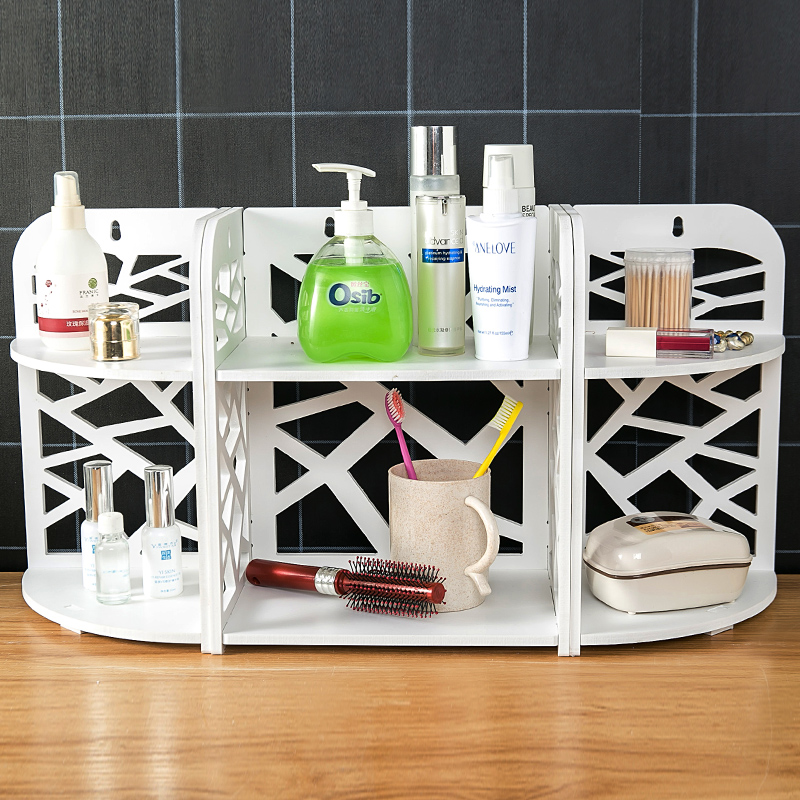 Free Combination Bathroom Vanity Rack Shelf Vanity Cosmetic Storage Rack Bathroom Countertop Corner Multi-function Tripod 4042