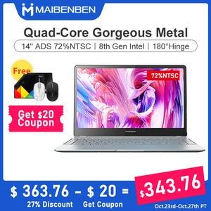 "August 24 NEW ARRIVAL MAIBENBEN LAPTOP JinMai 6 S480 14"" ADS 72% NTSC N4100 Backlit keyboard four speakers metal body silver"